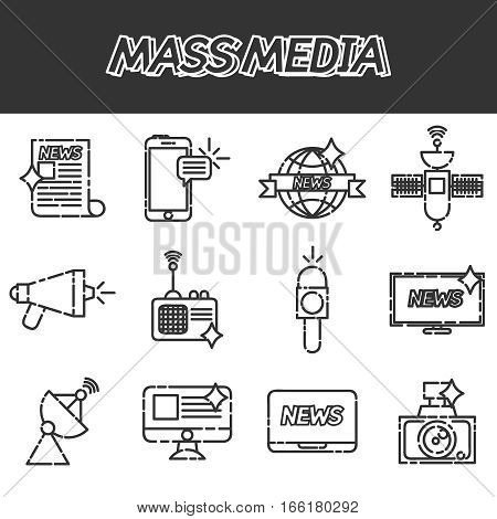 Mass media creative concept illustration, laptop, personal computer, journalist, microphone, rss, signal for posters and banners