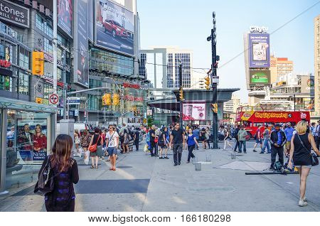Toronto, Canada - July 22, 2014: Yonge-Dundas Square or Dundas Square in downtown with many people