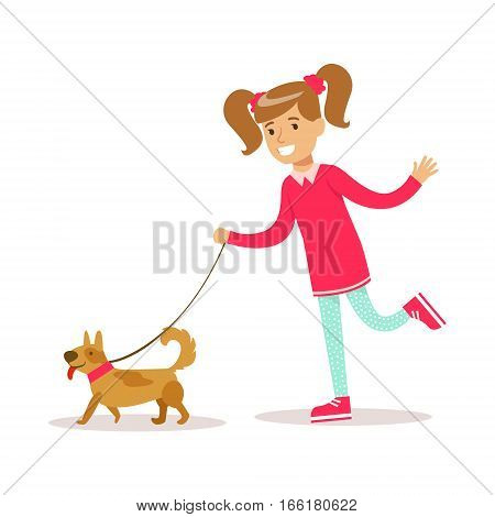Happy Girl In Classic Girly Color Clothes Smiling Cartoon Character Walking A Dog. Traditional Female Kid Look And Behavior Vector Illustration.