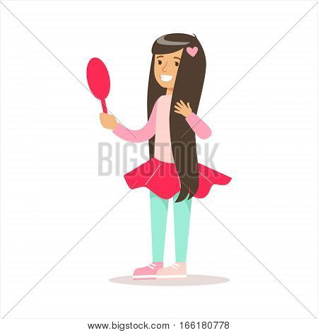 Happy Girl With Long Dark Hair In Classic Girly Color Clothes Smiling Cartoon Character Looking In The Mirror. Traditional Female Kid Look And Behavior Vector Illustration.