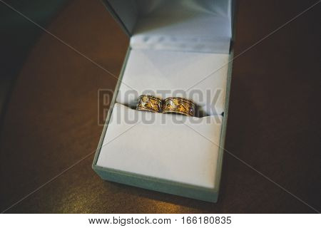 Wedding Rings With Stamping Put In The Box