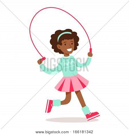 Happy Girl In Classic Girly Color Clothes Smiling Cartoon Character Running With Skipping Rope. Traditional Female Kid Look And Behavior Vector Illustration.