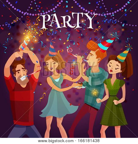 Birthday party evening celebration in disco cafe with bengal lights and confetti festive bright colorful background vector illustration
