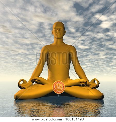 Silhouette of a man meditating with orange svadhishthana or sacral chakra symbol upon ocean in cloudy background - 3D render