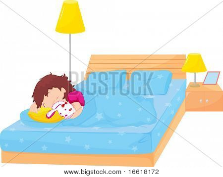 an illustration of a girl asleep in her bed