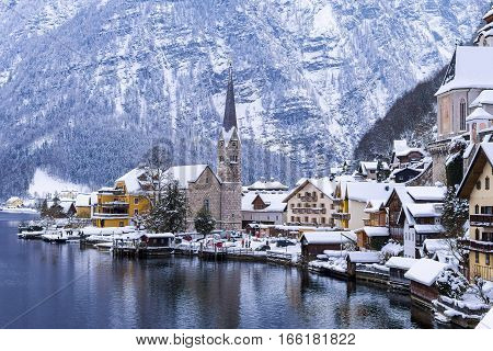 Hallstatt and Hallstatterr See Mountain Lake Winter Day View Alps Austria