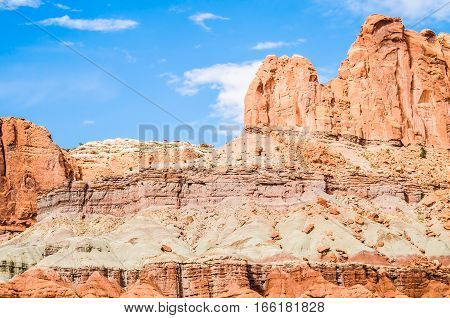 Red rock canyons in Capitol Reef National Park in Utah USA