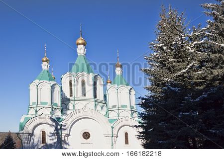 Assumption Cathedral of Sviatohirsk Lavra. Sunny day in January