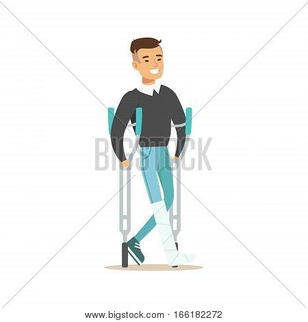 Man With The Cast Walking With Crouches Smiling, Hospital And Healthcare Illustration. Scene In Public Medical Institution Flat Vector Illustration With Cartoon Characters.