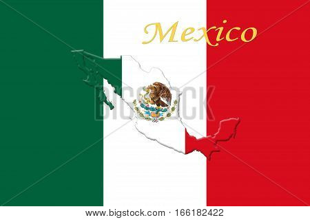 Mexican National Flag With Eagle Coat Of Arms, Text  And Mexican Map 3D Rendering