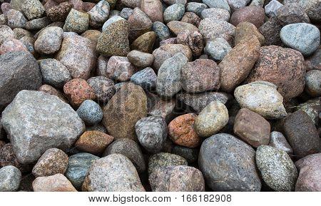 pile of huge granite boulders. Granite stones.