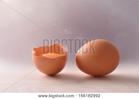 Fresh Eggs On Wood Bench With Gray Background And Light
