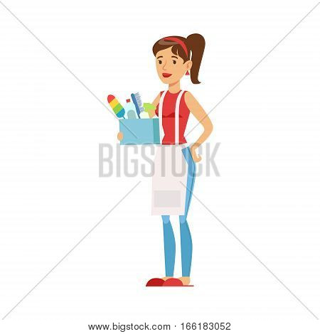 Woman Housewife Holding Box Of Domestic Chemistry And Inventory, Classic Household Duty Of Staying-at-home Wife Illustration. Smiling Female Character And Her Domestic Affairs Vector Drawing.