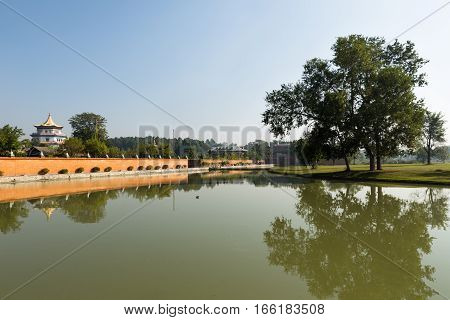 the birthplace of Buddha Lake and temples in Lumbini Nepal