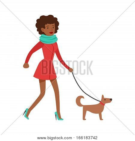 Woman Housewife Walking A Dog On a Leash, Classic Household Duty Of Staying-at-home Wife Illustration. Smiling Female Character And Her Domestic Affairs Vector Drawing.