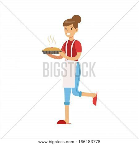 Woman Housewife Holding Freshly Baked Hot Pie, Classic Household Duty Of Staying-at-home Wife Illustration. Smiling Female Character And Her Domestic Affairs Vector Drawing.