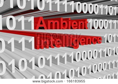 Ambient intelligence in the form of binary code, 3D illustration