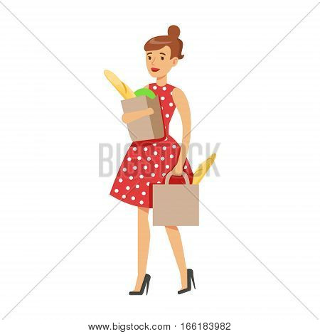 Woman Housewife Grocery Shopping Carrying Two Paper Bags, Classic Household Duty Of Staying-at-home Wife Illustration. Smiling Female Character And Her Domestic Affairs Vector Drawing.