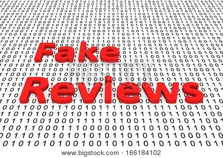 fake reviews in the form of binary code, 3D illustration
