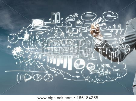 Close view of businesswoman drawing strategy plan on screen