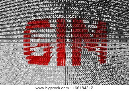 GIM in the form of binary code, 3D illustration
