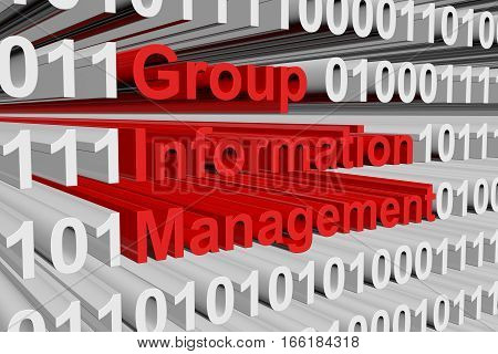 Group information management in the form of binary code, 3D illustration