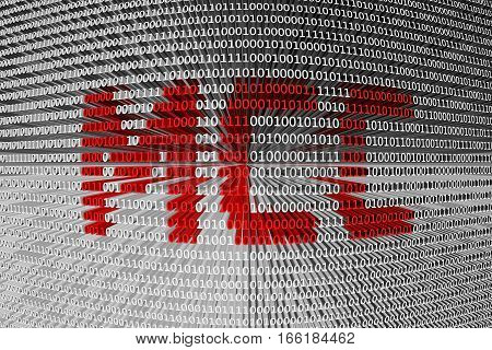 MCC in the form of binary code, 3D illustration