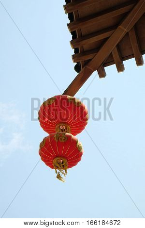 Authentic chinese lantern on an entrance arch to Chinatown Boston.