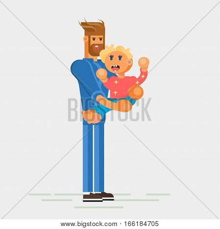 Little child, todler, baby character sitting on the Fathers hands and laughing. Flat design vector illustration. Fathers and child concept. Vector art.