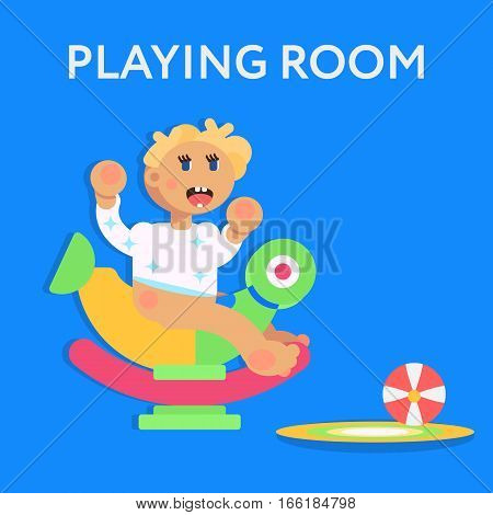 Little Child, Todler, Baby Character Sitting On The Toy