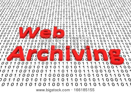 web archiving in the form of binary code, 3D illustration