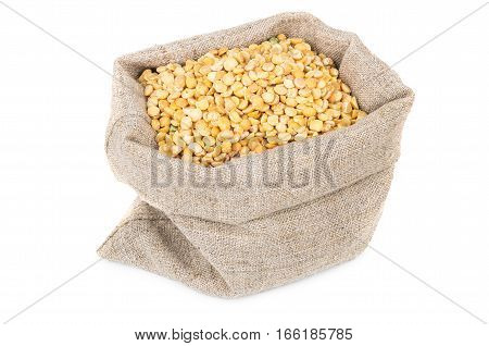 Dried Yellow Peas In Sackcloth Bag Isolated On White