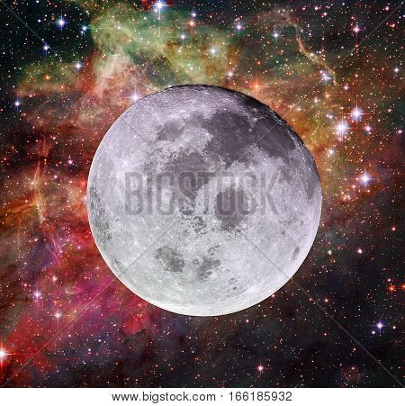 Full Moon On The Background Of Nebula And Stars.