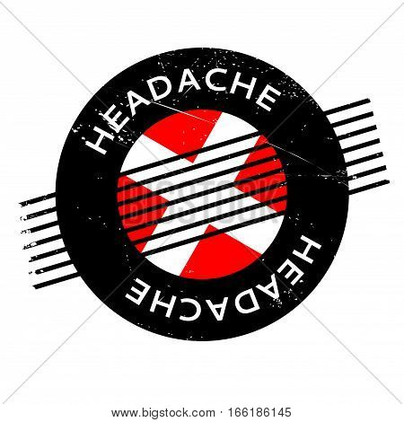 Headache rubber stamp. Grunge design with dust scratches. Effects can be easily removed for a clean, crisp look. Color is easily changed.