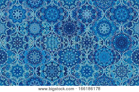 Seamless Pattern Blue Background. Intricate vintage design. Stylized flower mandala elements. Boho ogee tile. Complex decorative ornament. Traditional oriental interior fabric print, wallpaper, floor.