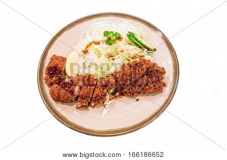 Tonkatsu, Deep-fried Pork Cutlet Over White Background