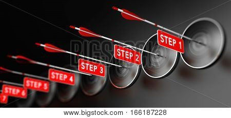 3D illustration of arrows with red signs hitting modern targets over black background. Training steps concept horizontal image.