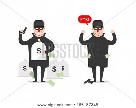 Stock Vector isolated illustration thief with bags of money and thief who has been catch in dark suit stole robber runs on white background in black mask and hat criminal in flat style.