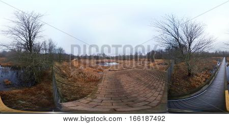 Full 360 degree spherical seamless panorama of a trail by a boardwalk
