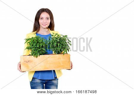 Green living. Attractive young businesswoman holding a box with plants isolated on white background. Environmental scientist or biologist at work. Student in biology and ecology. Eco concept