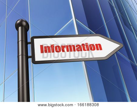 Information concept: sign Information on Building background, 3D rendering