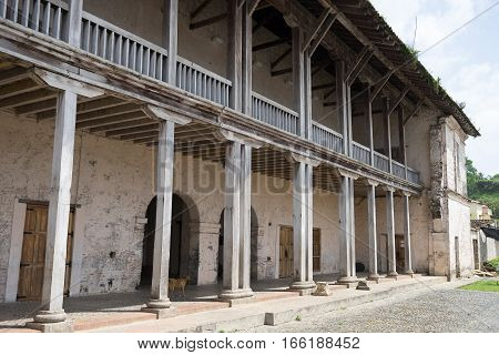 June 12, 2016 Portobelo, Panama: architectural details of the custom house in Fort Jeronimo
