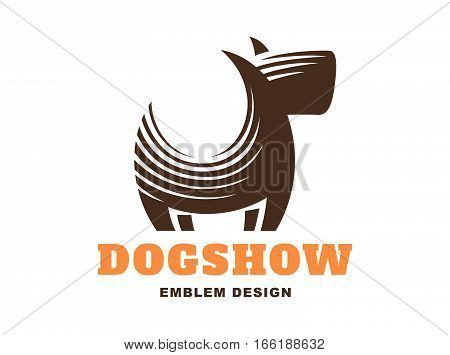 Dog logo - vector illustration, emblem design on white background