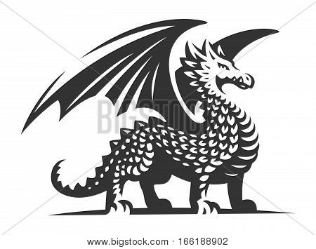 Dragon vector illustration, emblem design on white background