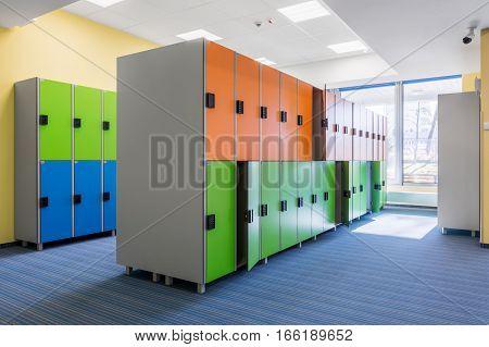 Functional University Interior With Lockers