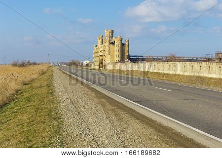 RUSSIA TAMAN PENINSULA TEMRYUK DISTRICT - January 04.2017: The road along the hotel complex is stylized as a medieval castle