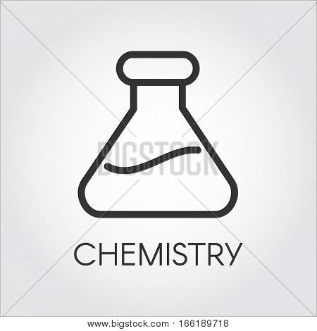 Simple outline black icon of chemical flasks. Pixel perfect 48x48 px. Simplicity pictograph. Logo for buttons, websites, mobile apps and other design needs. Vector image of contour label poster