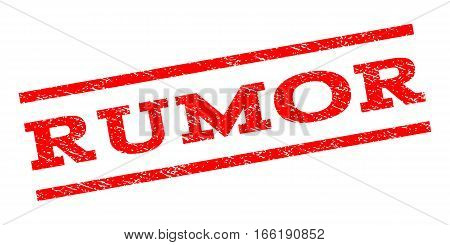 Rumor watermark stamp. Text tag between parallel lines with grunge design style. Rubber seal stamp with dust texture. Vector red color ink imprint on a white background.