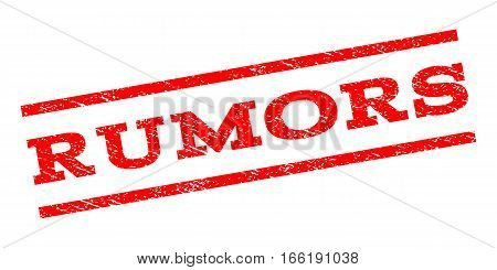 Rumors watermark stamp. Text tag between parallel lines with grunge design style. Rubber seal stamp with dust texture. Vector red color ink imprint on a white background.