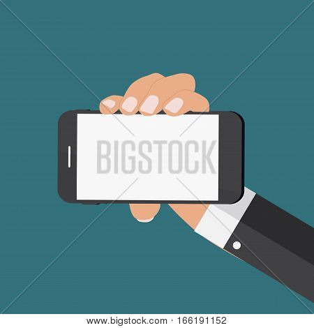 Hand with Abstract Mobile Phone Template in Modern Flat Style Vector Illustration EPS10